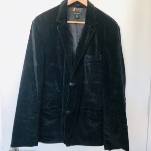 FINK Black Crushed Velvet Tailored Blazer - Sz XL